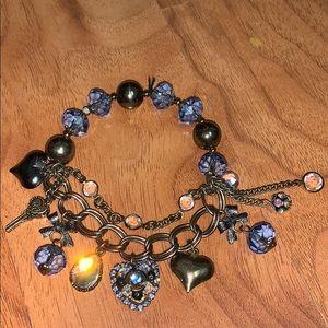 Betsey Johnson Blue Elastic Heart Charm Bracelet